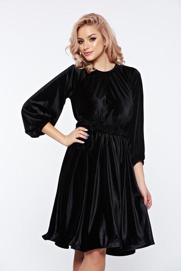 Artista black dress from velvet occasional flared