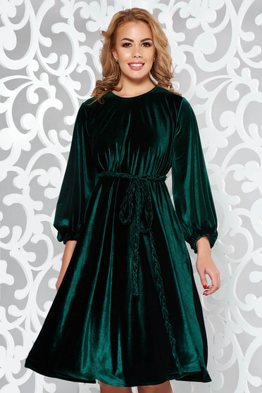 Artista darkgreen dress from velvet occasional flared accessorized with tied waistband