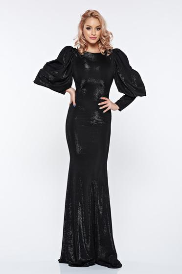 Artista black dress with puffed sleeves evening dresses mermaid dress