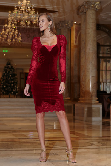 Artista burgundy dress occasional velvet pencil with laced sleeves