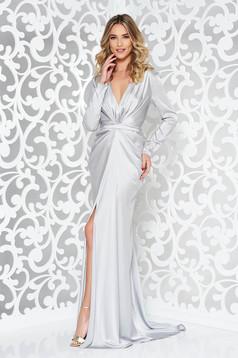 Ana Radu grey occasional dress from satin fabric texture mermaid