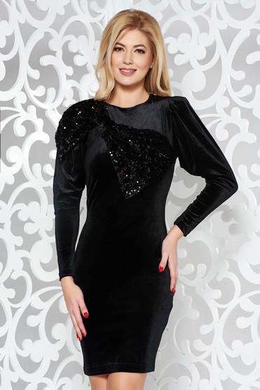 Artista black dress occasional velvet with sequin embellished details pencil