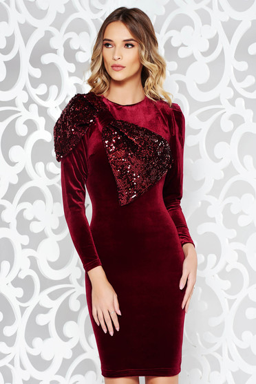Artista burgundy dress occasional velvet with sequin embellished details pencil