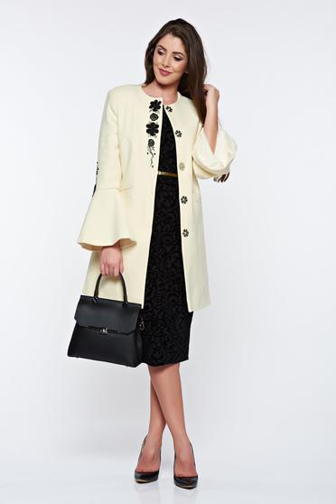 LaDonna elegant straight embroidered from wool nude coat
