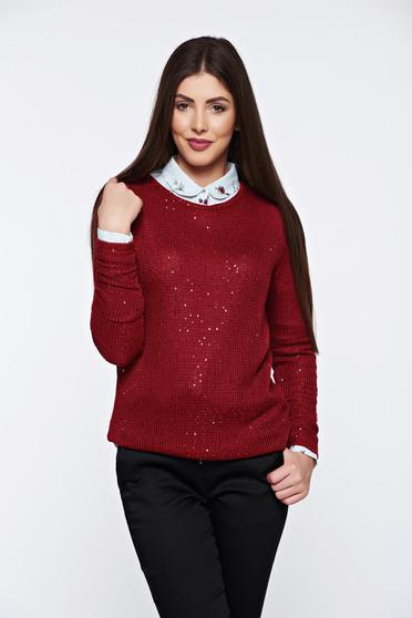 Top Secret burgundy sweater with sequin embellished details flared casual