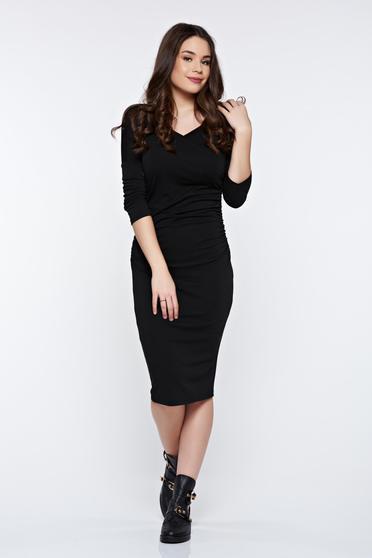 PrettyGirl black dress elegant pencil with 3/4 sleeves