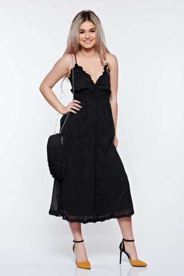 PrettyGirl black jumpsuit clubbing with lace details with inside lining