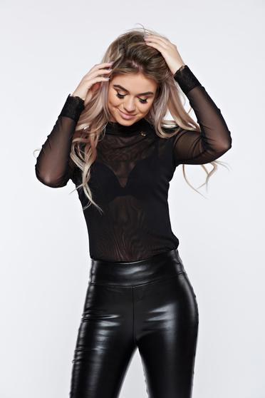 PrettyGirl black body transparent fabric with lace details