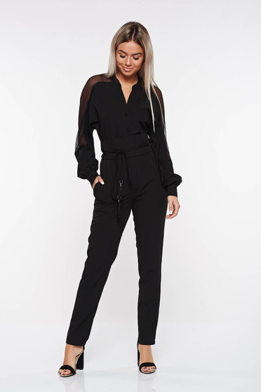 PrettyGirl black jumpsuit elegant accessorized with tied waistband