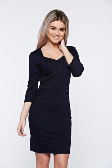 PrettyGirl darkblue office pencil dress with v-neckline