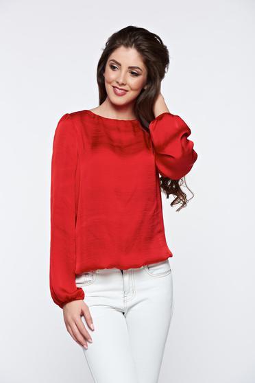 PrettyGirl red women`s blouse elegant with cut back allure of satin