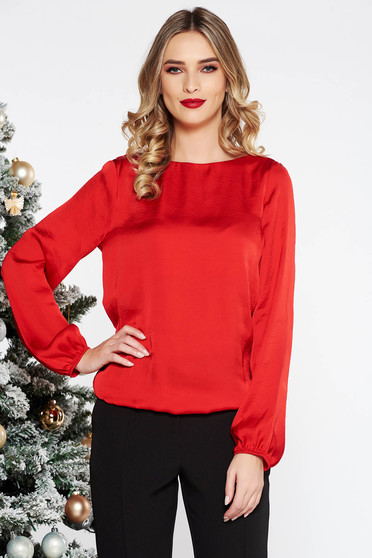 PrettyGirl red women`s blouse elegant with cut back allure of satin