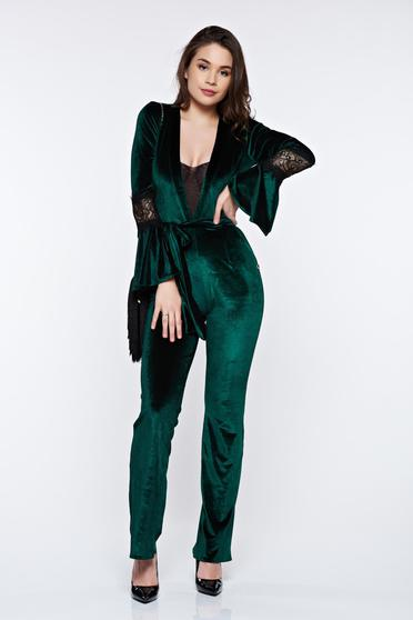 PrettyGirl green jumpsuit elegant velvet accessorized with tied waistband