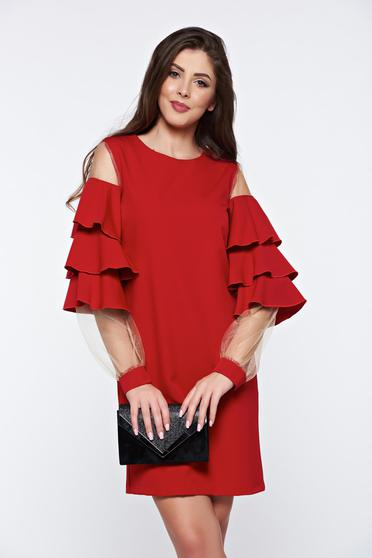 PrettyGirl red dress with ruffled sleeves occasional