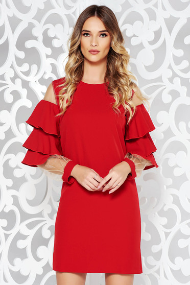 PrettyGirl red dress with ruffled sleeves occasional from elastic and fine fabric with inside lining