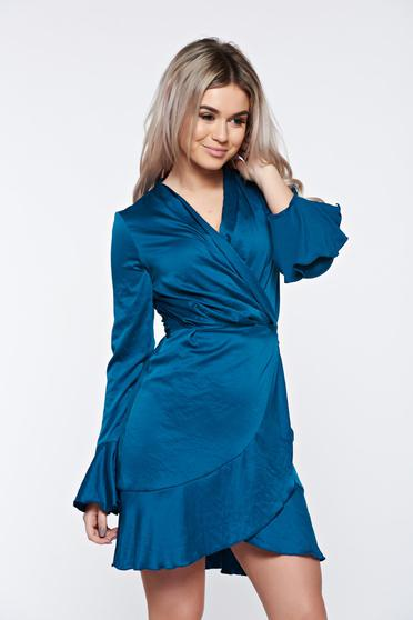 PrettyGirl turquoise dress wrap around from satin fabric texture with v-neckline