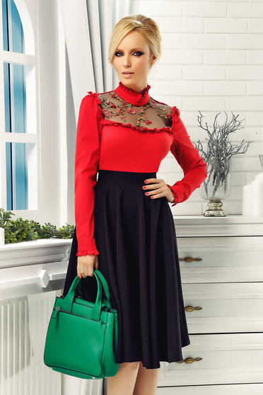 Fofy red women`s shirt elegant cotton embroidered