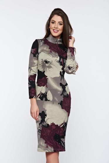 StarShinerS purple dress casual daily with floral prints knitted fabric