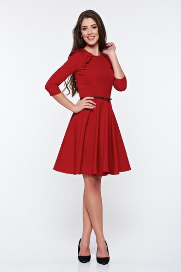 StarShinerS elegant daily accessorized with belt burgundy dress