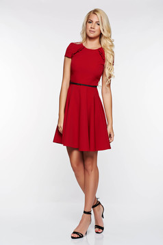 StarShinerS burgundy dress elegant cloche slightly elastic fabric accessorized with belt