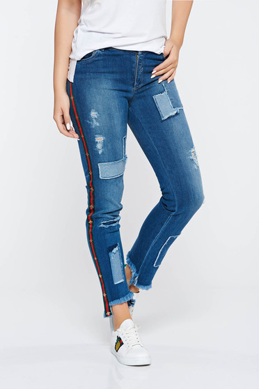 Ocassion blue casual skinny jeans with medium waist