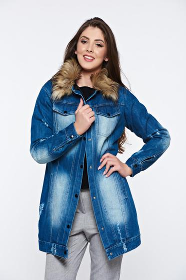 Ocassion blue jacket casual denim with faux fur details