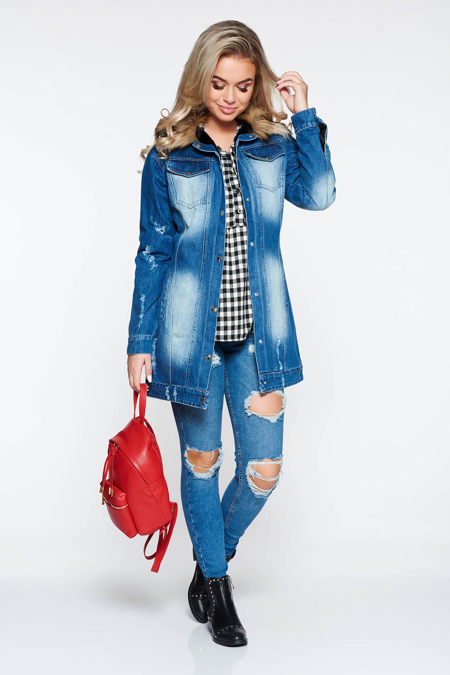 ba422b0235 Kék Ocassion casual dzseki farmerarnyagból műszőrme berakások