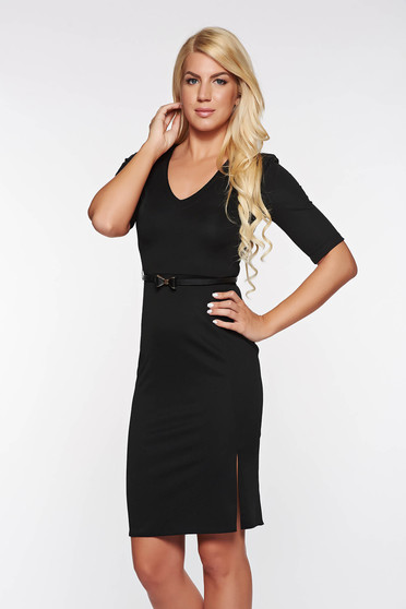 StarShinerS black dress office pencil with a cleavage accessorized with belt