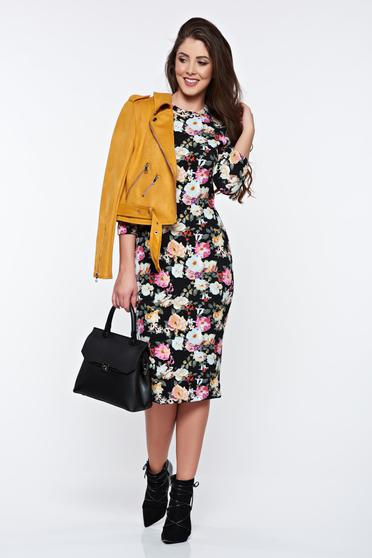 StarShinerS black dress casual with tented cut with floral prints