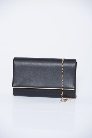 Black occasional bag with metallic aspect accessorized with chain
