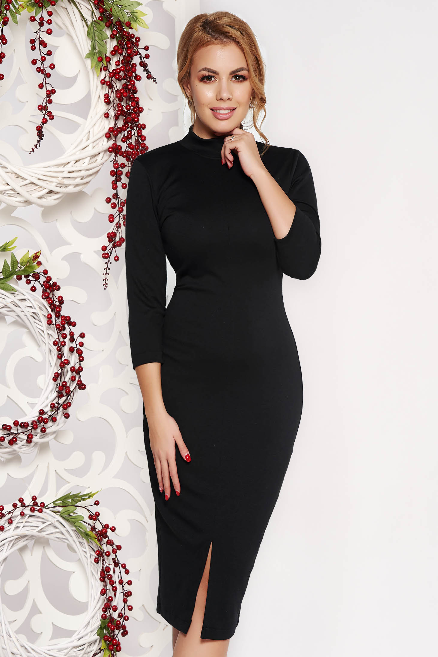 StarShinerS black dress pencil with tented cut office midi with 3/4 sleeves slightly elastic fabric