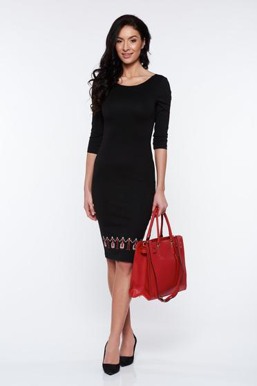 StarShinerS black dress office pencil with 3/4 sleeves embroidered