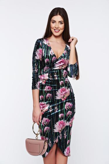 StarShinerS black dress elegant from velvet wrap around with v-neckline