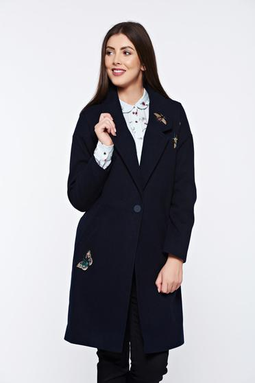 Top Secret darkblue coat embroidered straight with inside lining with pockets