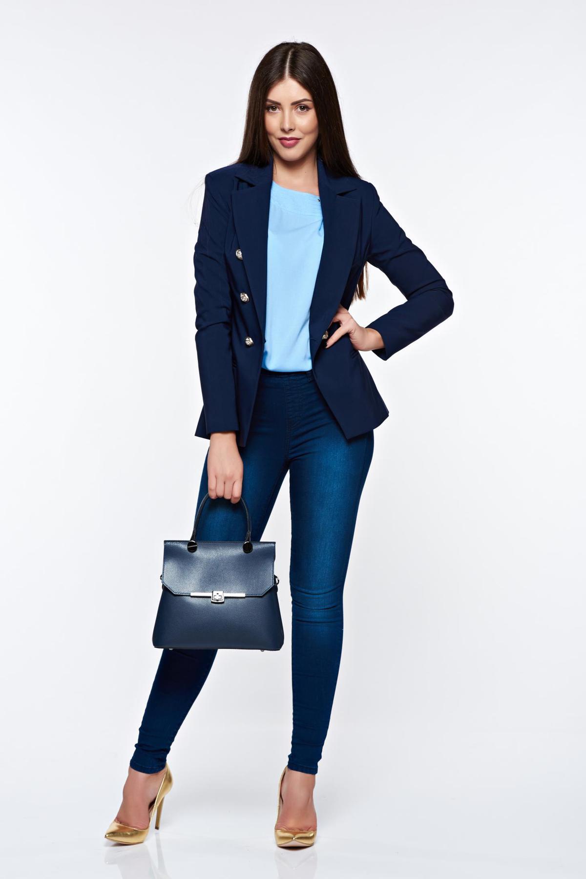 Blugi Top Secret albastri-inchis skinny din bumbac elastic cu talie medie