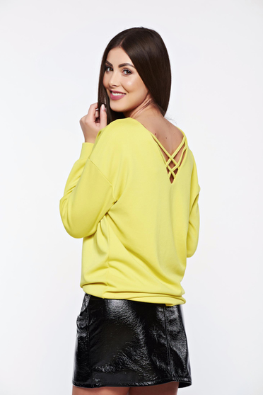 Top Secret yellow women`s blouse casual with easy cut from elastic fabric
