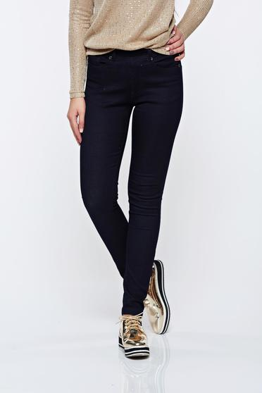 Top Secret casual skinny jeans with medium waist darkblue jeans with elastic waist