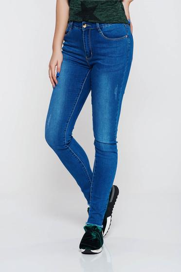 Top Secret blue jeans with medium waist cotton skinny jeans