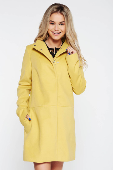 Top Secret yellow coat casual with pockets with inside lining from non elastic fabric