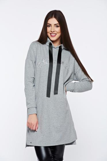 Top Secret grey sweater casual with easy cut with crystal embellished details