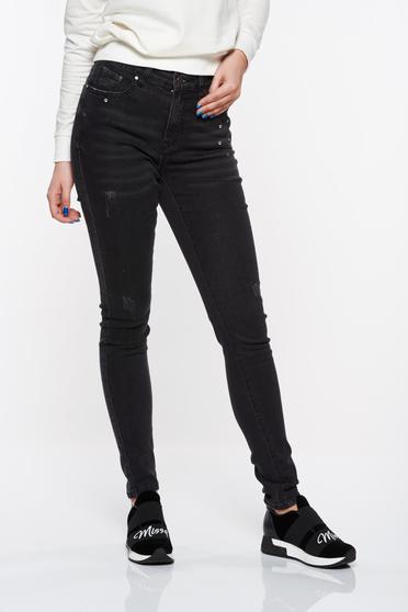 Top Secret black jeans skinny jeans high waisted with crystal embellished details