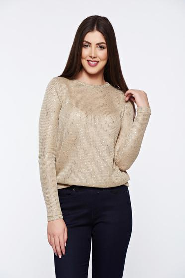 Top Secret casual knitted gold sweater with sequin embellished details