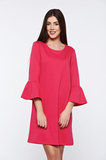 Top Secret coral dress casual flared with ruffled sleeves