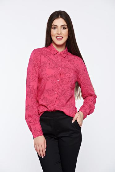 Top Secret coral women`s shirt with easy cut with pointed collar casual