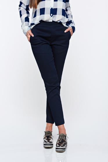 Top Secret darkblue trousers casual conical with medium waist with elastic waist