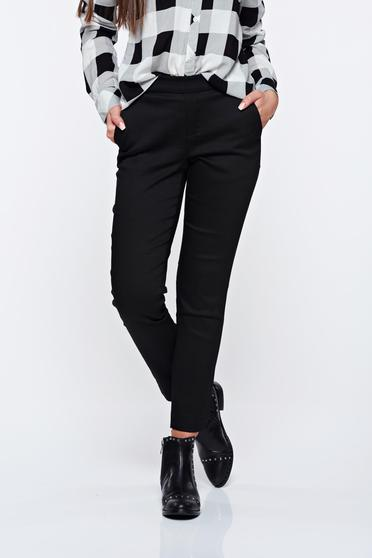 Top Secret black trousers casual conical with medium waist with elastic waist