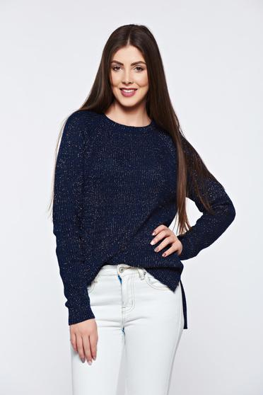 Top Secret darkblue sweater knitted with lame thread with easy cut asymmetrical