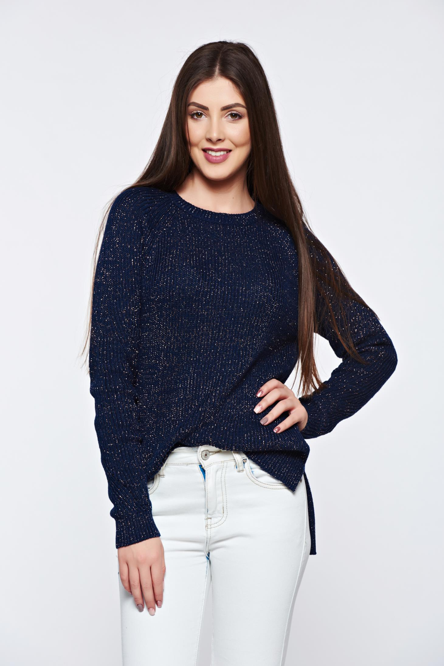 Top Secret darkblue sweater knitted with lame thread with easy cut ...
