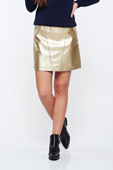 Top Secret gold skirt casual with metallic aspect from ecological leather