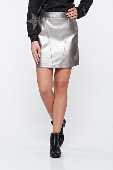 Top Secret silver skirt casual with metallic aspect from ecological leather